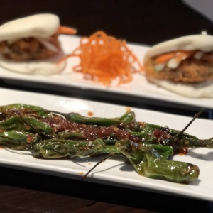 Shishito peppers & pork belly rolls